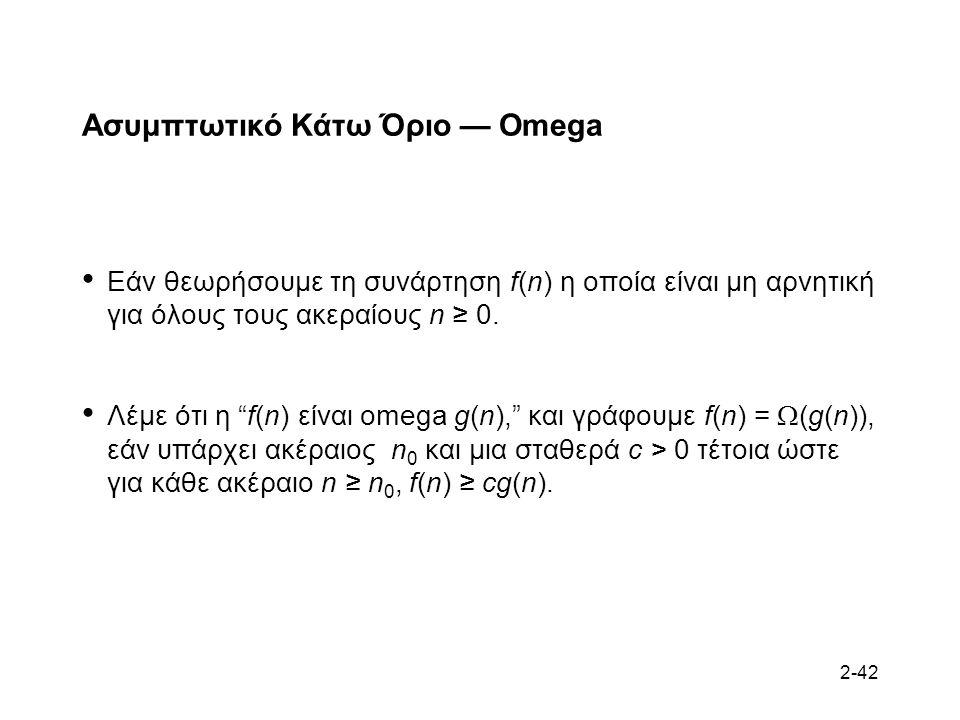 2-42 Ασυμπτωτικό Κάτω Όριο — Omega Εάν θεωρήσουμε τη συνάρτηση f(n) η οποία είναι μη αρνητική για όλους τους ακεραίους n ≥ 0.