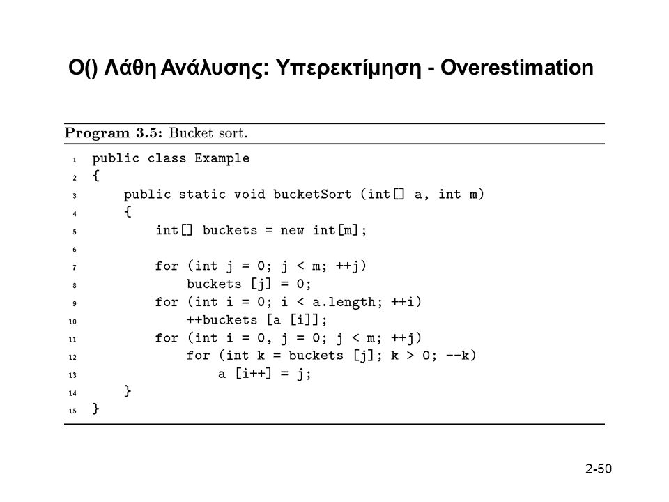 2-50 O() Λάθη Ανάλυσης: Υπερεκτίμηση - Overestimation