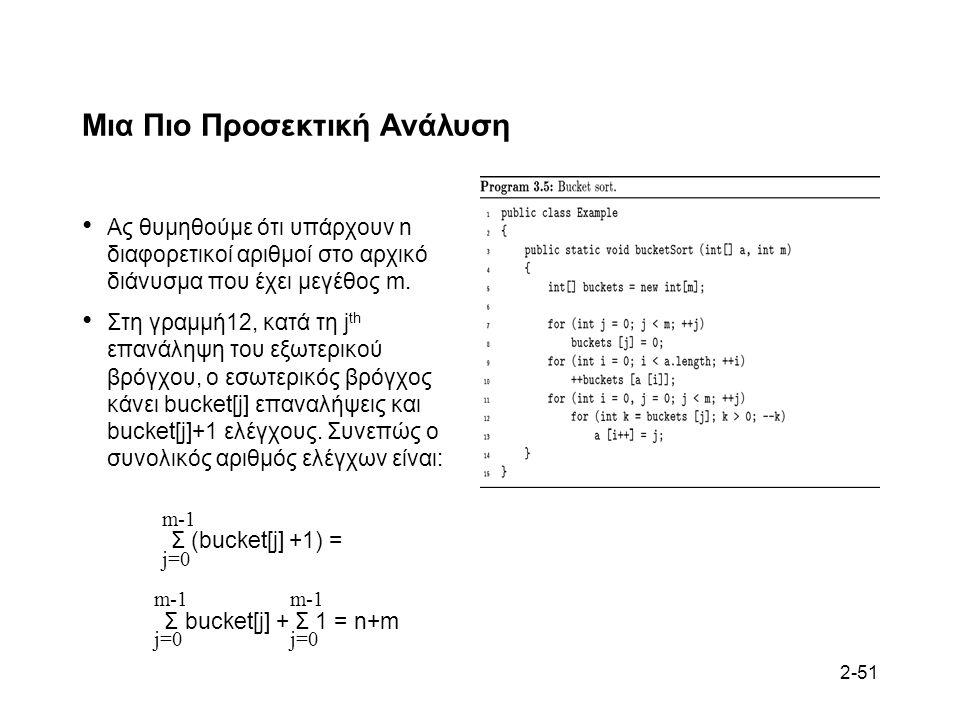 2-51 Μια Πιο Προσεκτική Ανάλυση Ας θυμηθούμε ότι υπάρχουν n διαφορετικοί αριθμοί στο αρχικό διάνυσμα που έχει μεγέθος m.