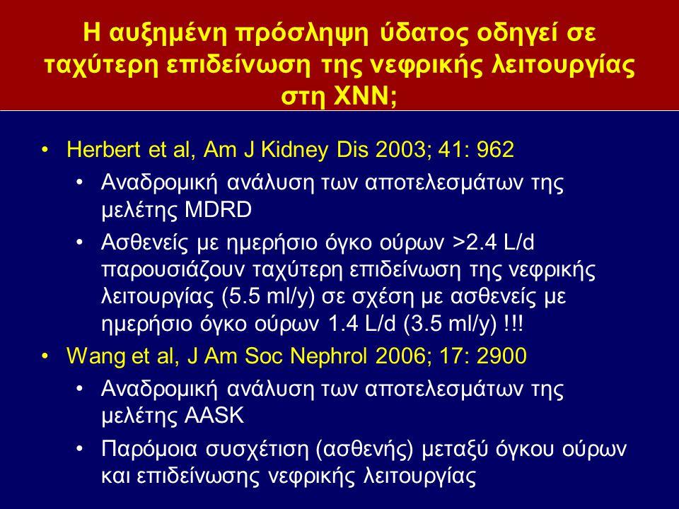 Η αυξημένη πρόσληψη ύδατος οδηγεί σε ταχύτερη επιδείνωση της νεφρικής λειτουργίας στη ΧΝΝ; Herbert et al, Am J Kidney Dis 2003; 41: 962 Αναδρομική ανάλυση των αποτελεσμάτων της μελέτης MDRD Ασθενείς με ημερήσιο όγκο ούρων >2.4 L/d παρουσιάζουν ταχύτερη επιδείνωση της νεφρικής λειτουργίας (5.5 ml/y) σε σχέση με ασθενείς με ημερήσιο όγκο ούρων 1.4 L/d (3.5 ml/y) !!.
