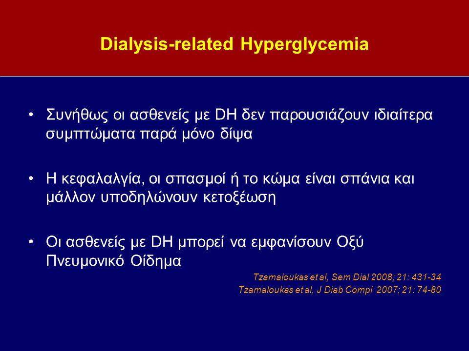 Dialysis-related Hyperglycemia Συνήθως οι ασθενείς με DH δεν παρουσιάζουν ιδιαίτερα συμπτώματα παρά μόνο δίψα Η κεφαλαλγία, οι σπασμοί ή το κώμα είναι σπάνια και μάλλον υποδηλώνουν κετοξέωση Οι ασθενείς με DH μπορεί να εμφανίσουν Οξύ Πνευμονικό Οίδημα Tzamaloukas et al, Sem Dial 2008; 21: 431-34 Tzamaloukas et al, J Diab Compl 2007; 21: 74-80