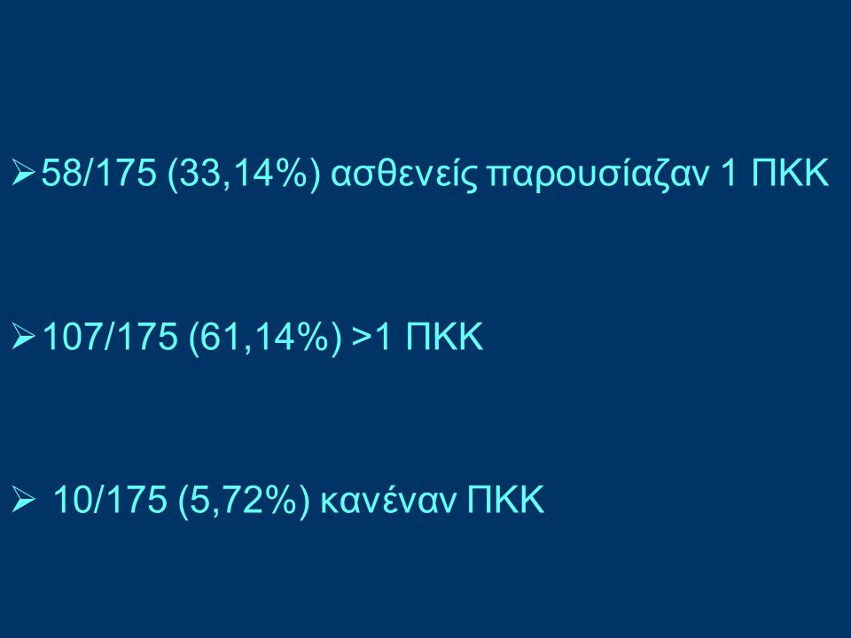  ως μοναδικός ΠΚΚ παρατηρήθηκε ΑΥ σε 37/175 (21,14%),  ΣΔ μόνο σε 7/175 (4%)
