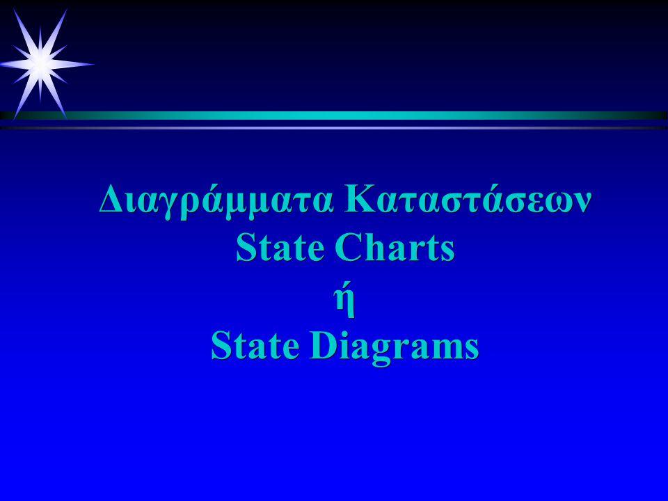 Είδη δυναμικών διαγραμμάτων u Διαγράμματα u Διαγράμματα καταστάσεων (State (State Diagrams) Diagrams) : Περιγράφουν τις διάφορες καταστάσεις καταστάσεις που μπορεί να κατέχει κάποιο αντικείμενο και τα γεγονότα που οδήγησαν στην αλλαγή u Διαγράμματα u Διαγράμματα ακολουθίας (Sequence (Sequence Diagrams): Περιγράφουν πώς τα αντικείμενα αλληλεπιδρούν μεταξύ τους, εστιάζοντας περισσότερο σε θέματα χρόνου.