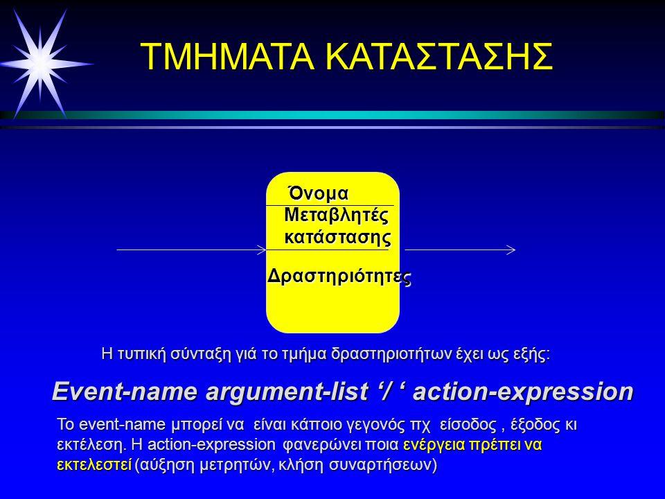 Μετάβαση κατάστασης ä Μία μετάβαση κατάστασης λαμβάνει χώρα αν ä λαμβάνει χώρα ένα συμβάν και ä η συνθήκη είναι αληθής ä Υποθέσεις ä η έλειψη συμβάντος δηλώνει ότι η δραστηριότητα έχει τελειώσει (μετάβαση ολοκλήρωσης) ä η έλλειψη συνθήκης αντιστοιχεί σε [true] ä Είναι δυνατές οι δράσεις κατά τη μετάβαση ä Ειδική δράση: αποστολή μηνύματος σε άλλο αντικείμενο ^receiver.message() ä Παράδειγμα: ä right-mouse-down (loc) [loc in window] / obj := pick- obj(loc); ^obj.highlight()
