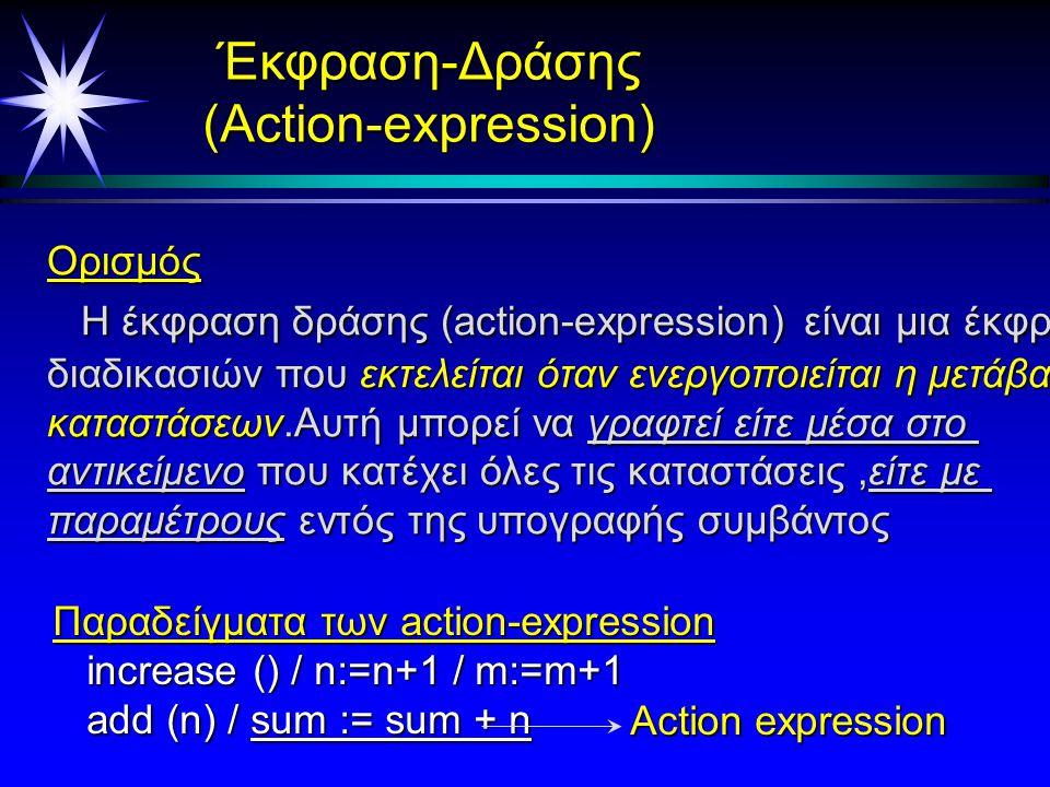 Συνθήκη φύλαξης ( Guard Condition) Ορισμός Eίναι μια λογική έκφραση που βρίσκεται σε μια μετάβαση Eίναι μια λογική έκφραση που βρίσκεται σε μια μετάβαση κατάστασης.