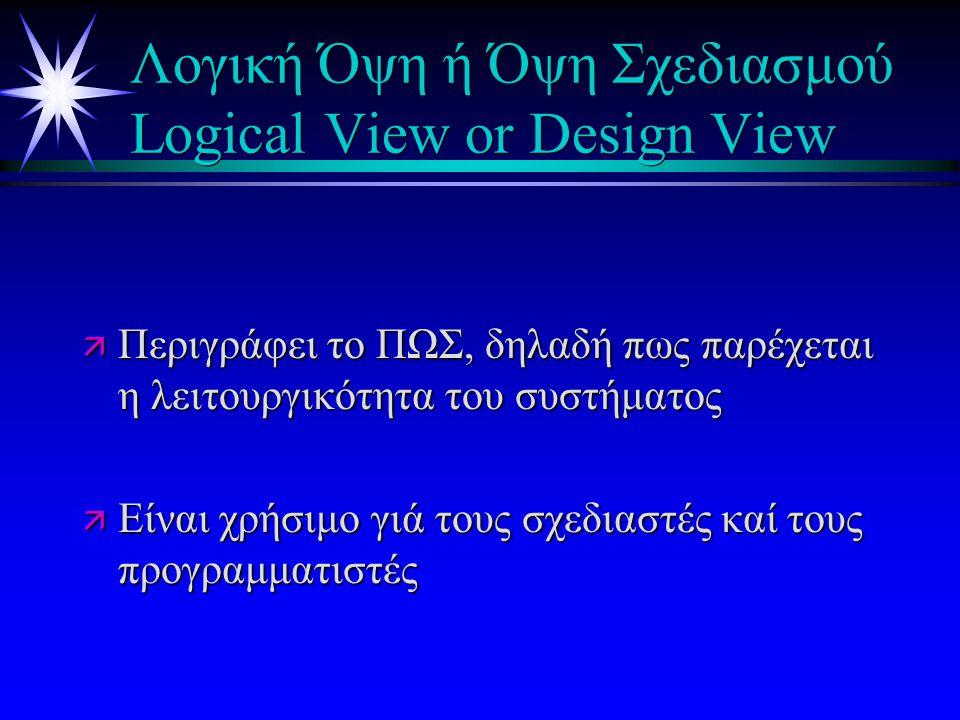 Λογική Όψη ή Όψη Σχεδιασμού Logical View or Design View ä Περιγράφει το ΠΩΣ, δηλαδή πως παρέχεται η λειτουργικότητα του συστήματος ä Είναι χρήσιμο γιά τους σχεδιαστές καί τους προγραμματιστές
