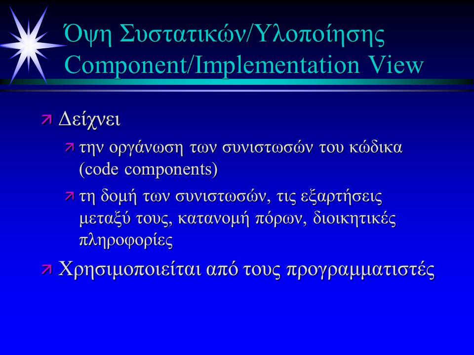 Όψη Συστατικών/Υλοποίησης Component/Implementation View ä Δείχνει ä την οργάνωση των συνιστωσών του κώδικα (code components) ä τη δομή των συνιστωσών, τις εξαρτήσεις μεταξύ τους, κατανομή πόρων, διοικητικές πληροφορίες ä Χρησιμοποιείται από τους προγραμματιστές