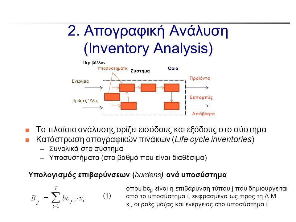 2. Απογραφική Ανάλυση (Inventory Analysis) n Το πλαίσιο ανάλυσης ορίζει εισόδους και εξόδους στο σύστημα n Κατάστρωση απογραφικών πινάκων (Life cycle