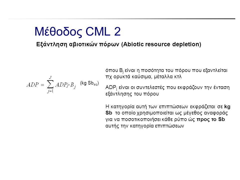 Μέθοδος CML 2 όπου B j είναι η ποσότητα του πόρου που εξαντλείται πχ ορυκτά καύσιμα, μέταλλα κτλ ADP j είναι οι συντελεστές που εκφράζουν την ένταση ε