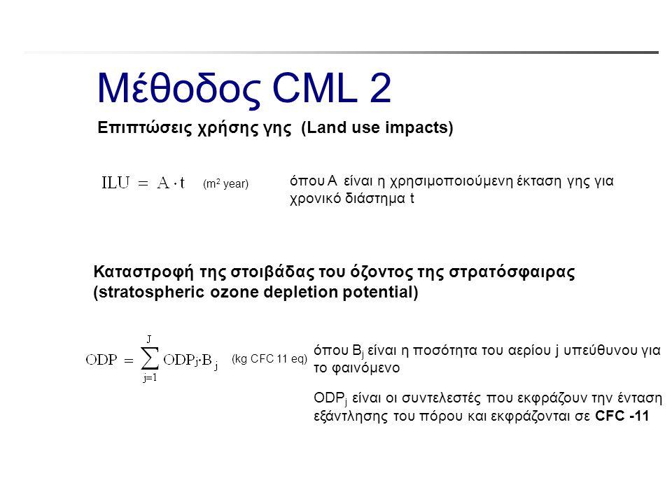 Μέθοδος CML 2 όπου A είναι η χρησιμοποιούμενη έκταση γης για χρονικό διάστημα t (m 2 year) Επιπτώσεις χρήσης γης (Land use impacts) όπου B j είναι η π