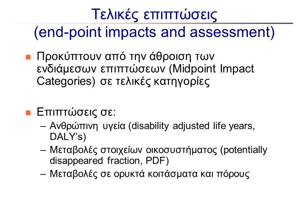 Τελικές επιπτώσεις (end-point impacts and assessment) n Προκύπτουν από την άθροιση των ενδιάμεσων επιπτώσεων (Midpoint Impact Categories) σε τελικές κ