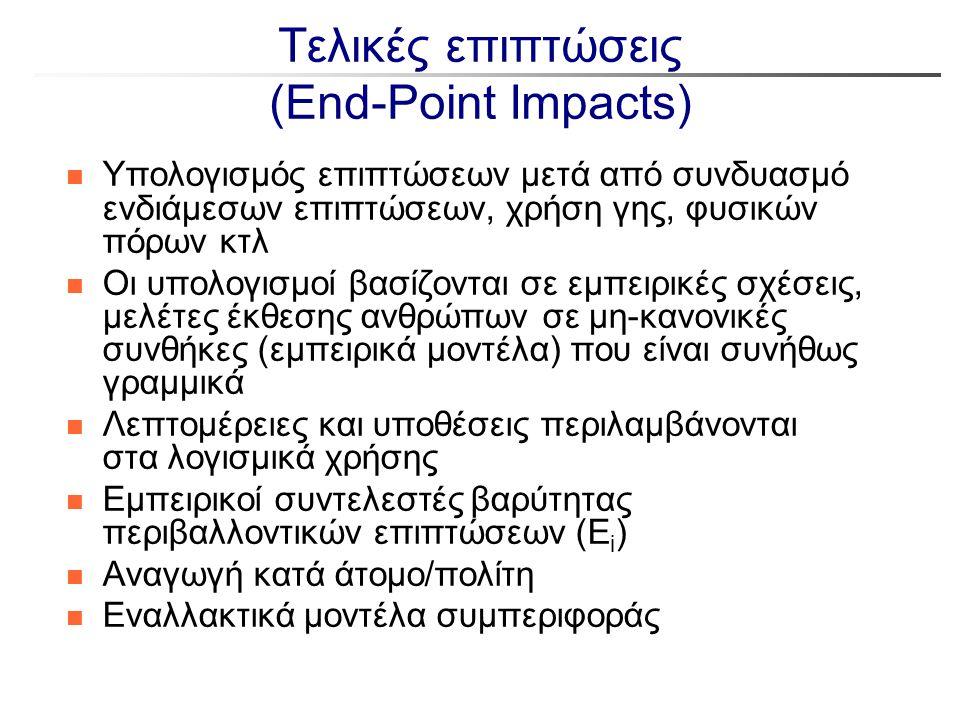 Τελικές επιπτώσεις (End-Point Impacts) n Υπολογισμός επιπτώσεων μετά από συνδυασμό ενδιάμεσων επιπτώσεων, χρήση γης, φυσικών πόρων κτλ n Οι υπολογισμο