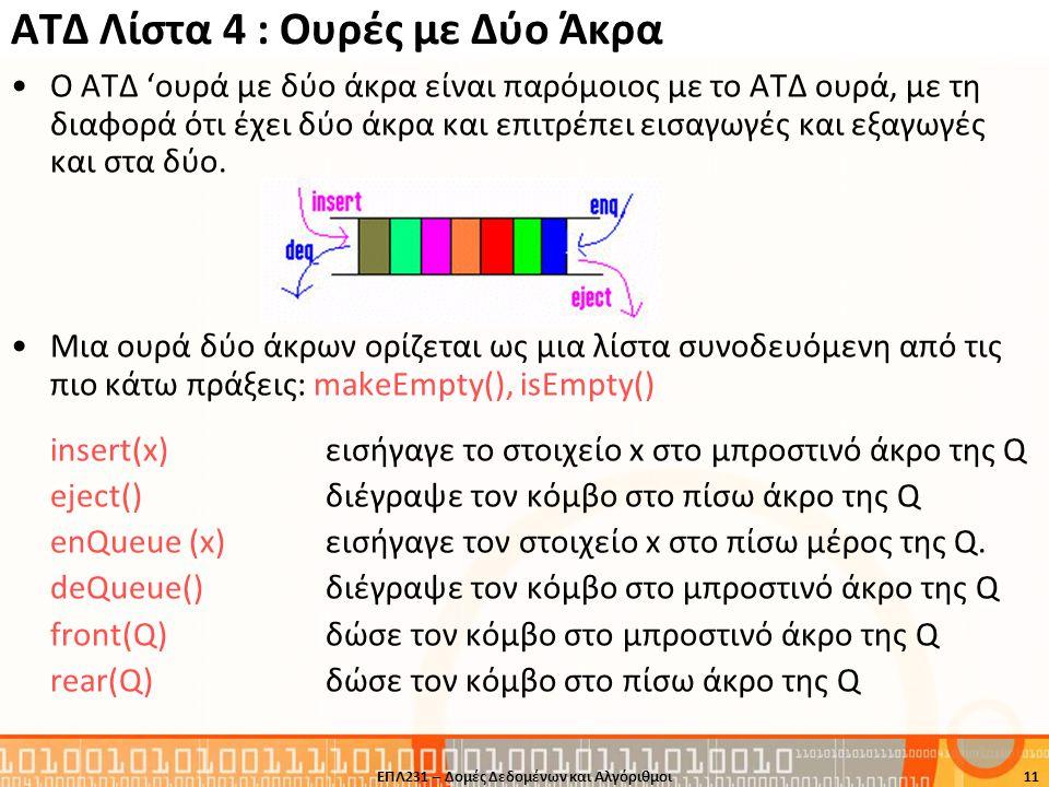 ΑΤΔ Λίστα 4 : Ουρές με Δύο Άκρα Ο ΑΤΔ 'ουρά με δύο άκρα είναι παρόμοιος με το ΑΤΔ ουρά, με τη διαφορά ότι έχει δύο άκρα και επιτρέπει εισαγωγές και εξ