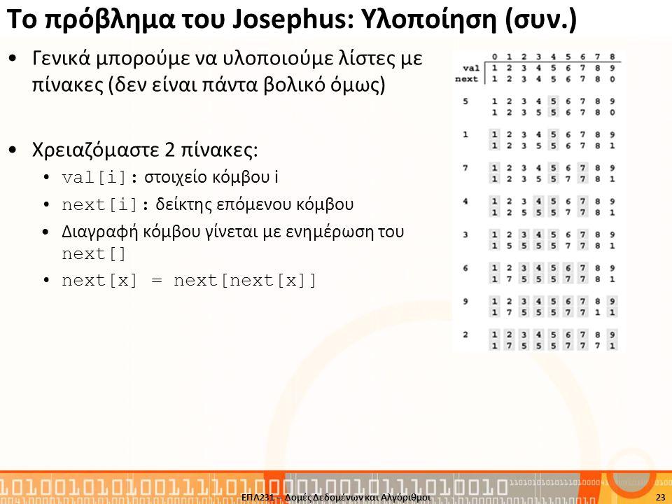 Το πρόβλημα του Josephus: Υλοποίηση (συν.) Γενικά μπορούμε να υλοποιούμε λίστες με πίνακες (δεν είναι πάντα βολικό όμως) Χρειαζόμαστε 2 πίνακες: val[i
