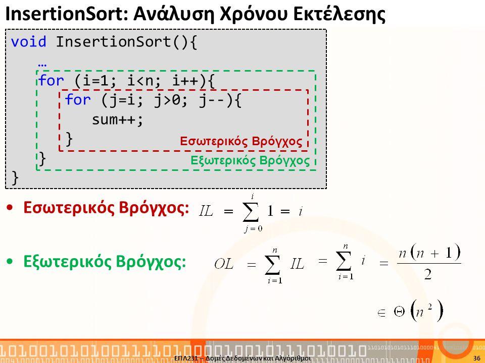 InsertionSort: Ανάλυση Χρόνου Εκτέλεσης void InsertionSort(){ … for (i=1; i<n; i++){ for (j=i; j>0; j--){ sum++; } Εξωτερικός Βρόγχος Εσωτερικός Βρόγχ