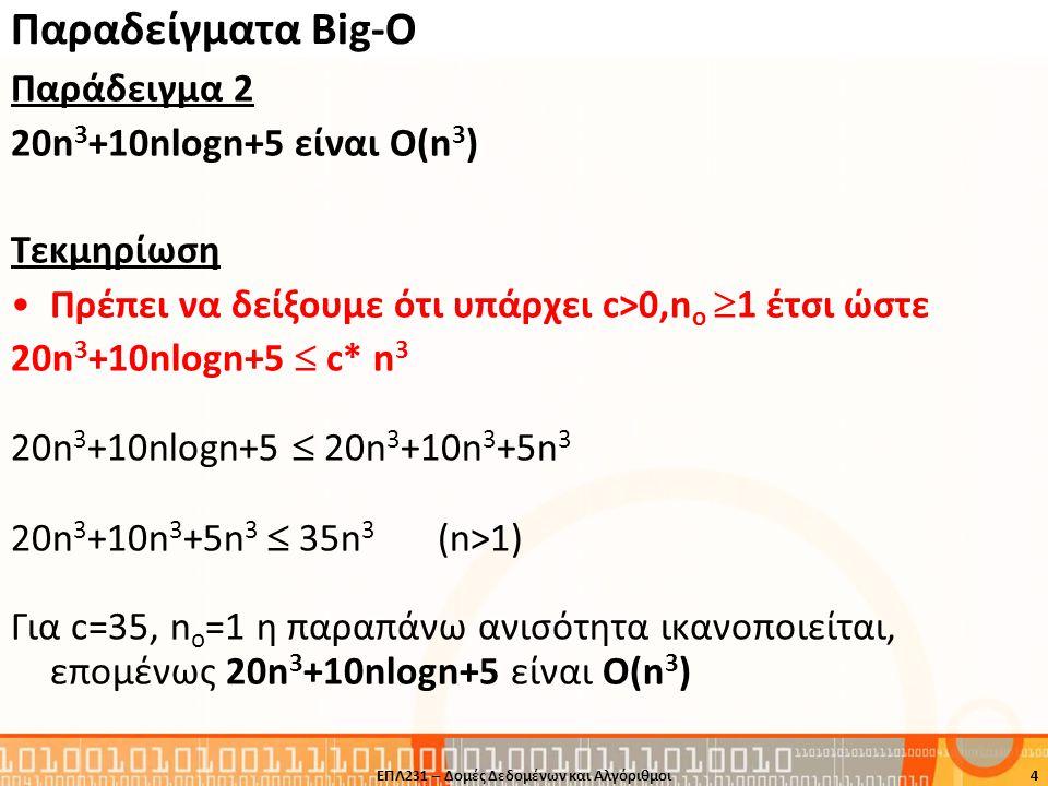 Παραδείγματα Βig-O Παράδειγμα 2 20n 3 +10nlogn+5 είναι Ο(n 3 ) Τεκμηρίωση Πρέπει να δείξουμε ότι υπάρχει c>0,n o  1 έτσι ώστε 20n 3 +10nlogn+5  c* n