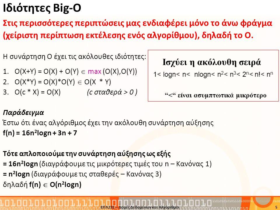 Ιδιότητες Big-O Στις περισσότερες περιπτώσεις μας ενδιαφέρει μόνο το άνω φράγμα (χείριστη περίπτωση εκτέλεσης ενός αλγορίθμου), δηλαδή το O. Η συνάρτη
