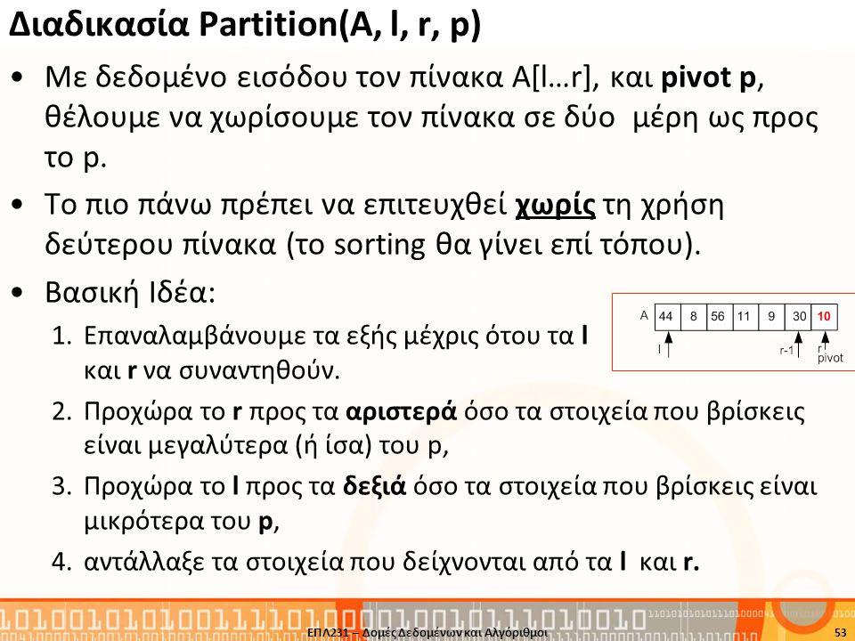 Διαδικασία Partition(A, l, r, p) Με δεδομένο εισόδου τον πίνακα Α[l…r], και pivot p, θέλουμε να χωρίσουμε τον πίνακα σε δύο μέρη ως προς το p. To πιο