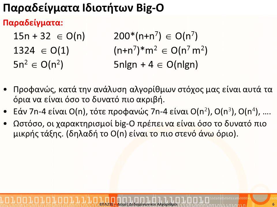 Παραδείγματα Ιδιοτήτων Big-O Παραδείγματα: 15n + 32  Ο(n)200*(n+n 7 )  Ο(n 7 ) 1324  Ο(1)(n+n 7 )*m 2  Ο(n 7 m 2 ) 5n 2  O(n 2 )5nlgn + 4  Ο(nlg