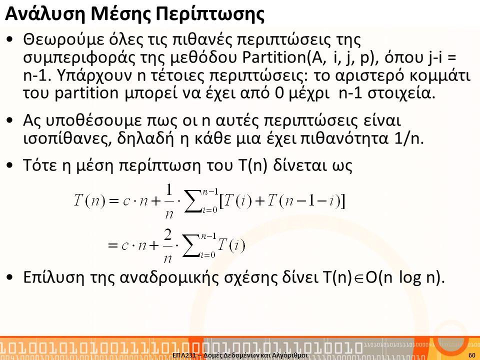 Ανάλυση Μέσης Περίπτωσης Θεωρούμε όλες τις πιθανές περιπτώσεις της συμπεριφοράς της μεθόδου Partition(A, i, j, p), όπου j-i = n-1. Υπάρχουν n τέτοιες