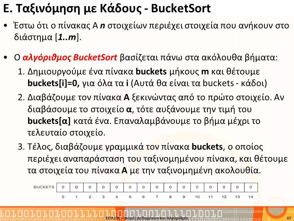 Ε. Ταξινόμηση με Κάδους - BucketSort Έστω ότι ο πίνακας A n στοιχείων περιέχει στοιχεία που ανήκουν στο διάστημα [1..m]. O αλγόριθμος BucketSort βασίζ