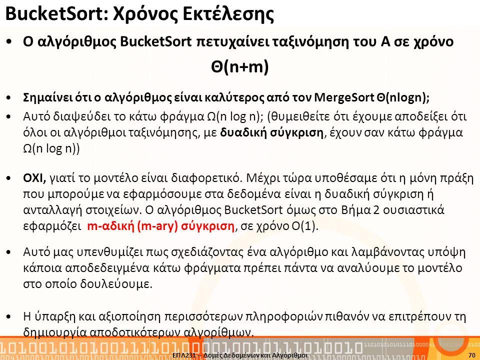 BucketSort: Χρόνος Εκτέλεσης O αλγόριθμος BucketSort πετυχαίνει ταξινόμηση του Α σε χρόνο Θ(n+m) Σημαίνει ότι ο αλγόριθμος είναι καλύτερος από τον Mer