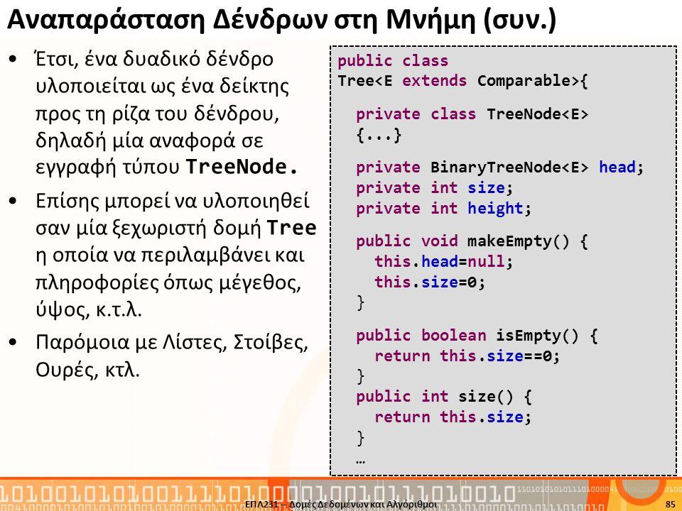 Αναπαράσταση Δένδρων στη Μνήμη (συν.) Έτσι, ένα δυαδικό δένδρο υλοποιείται ως ένα δείκτης προς τη ρίζα του δένδρου, δηλαδή μία αναφορά σε εγγραφή τύπο
