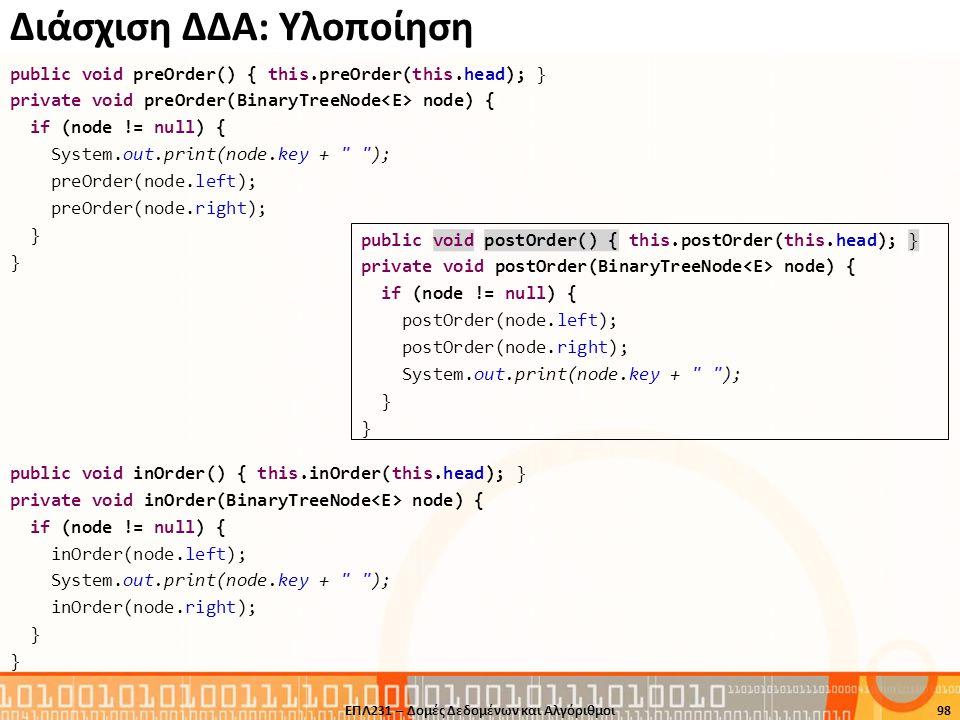 Διάσχιση ΔΔΑ: Υλοποίηση public void preOrder() { this.preOrder(this.head); } private void preOrder(BinaryTreeNode node) { if (node != null) { System.o