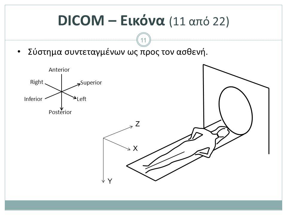 11 DICOM – Εικόνα (11 από 22) Σύστημα συντεταγμένων ως προς τον ασθενή. Ζ Χ Υ Anterior Right Left Posterior Inferior Superior