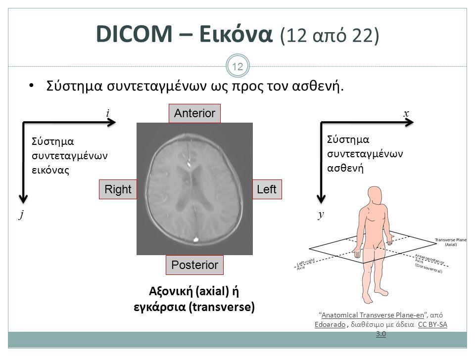 12 DICOM – Εικόνα (12 από 22) Σύστημα συντεταγμένων ως προς τον ασθενή. Right Anterior Posterior Left Αξονική (axial) ή εγκάρσια (transverse) x y i j