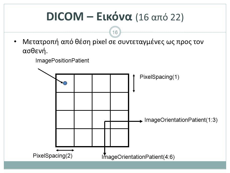 16 DICOM – Εικόνα (16 από 22) Μετατροπή από θέση pixel σε συντεταγμένες ως προς τον ασθενή. ImagePositionPatient PixelSpacing(1) PixelSpacing(2) Image