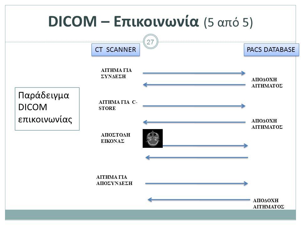 27 DICOM – Επικοινωνία (5 από 5) Παράδειγμα DICOM επικοινωνίας CT SCANNER PACS DATABASE ΑΙΤΗΜΑ ΓΙΑ ΣΥΝΔΕΣΗ ΑΠΟΔΟΧΗ ΑΙΤΗΜΑΤΟΣ ΑΙΤΗΜΑ ΓΙΑ C- STORE ΑΠΟΔΟ