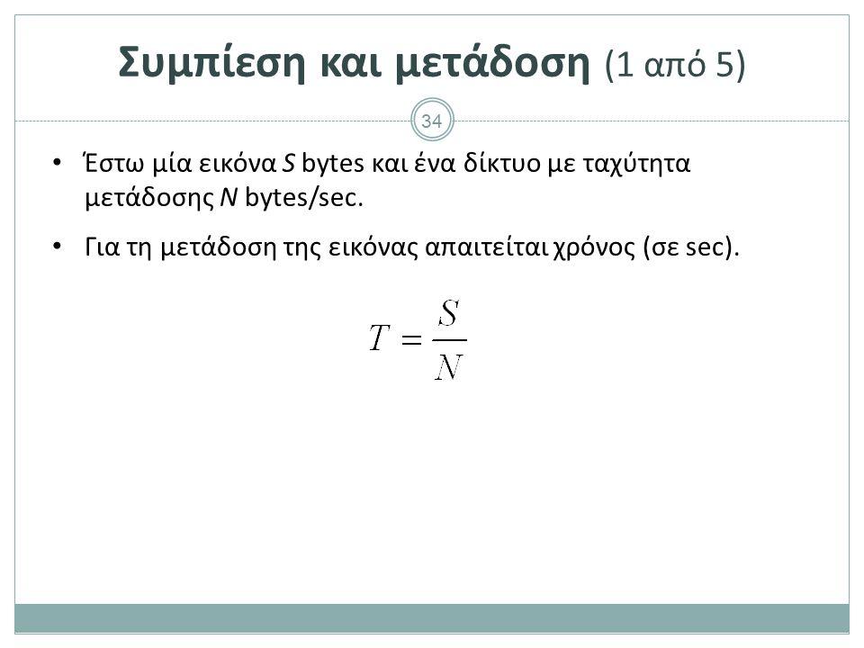 34 Συμπίεση και μετάδοση (1 από 5) Έστω μία εικόνα S bytes και ένα δίκτυο με ταχύτητα μετάδοσης Ν bytes/sec. Για τη μετάδοση της εικόνας απαιτείται χρ