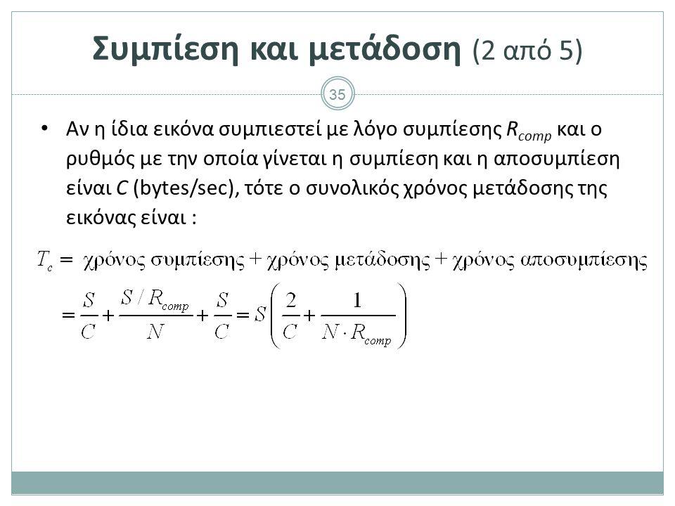 35 Συμπίεση και μετάδοση (2 από 5) Αν η ίδια εικόνα συμπιεστεί με λόγο συμπίεσης R comp και ο ρυθμός με την οποία γίνεται η συμπίεση και η αποσυμπίεση