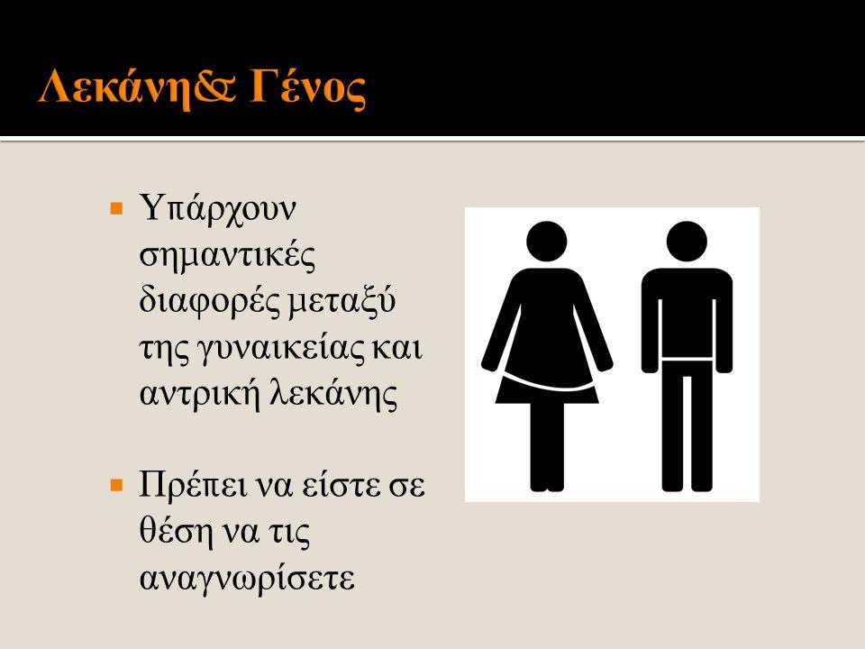  Υ π άρχουν ση μ αντικές διαφορές μ εταξύ της γυναικείας και αντρική λεκάνης  Πρέ π ει να είστε σε θέση να τις αναγνωρίσετε