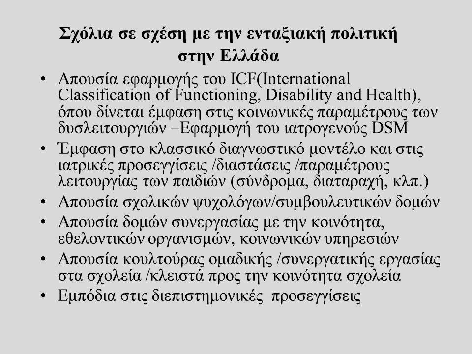Σχόλια σε σχέση με την ενταξιακή πολιτική στην Ελλάδα Απουσία εφαρμογής του ICF(International Classification of Functioning, Disability and Health), ό