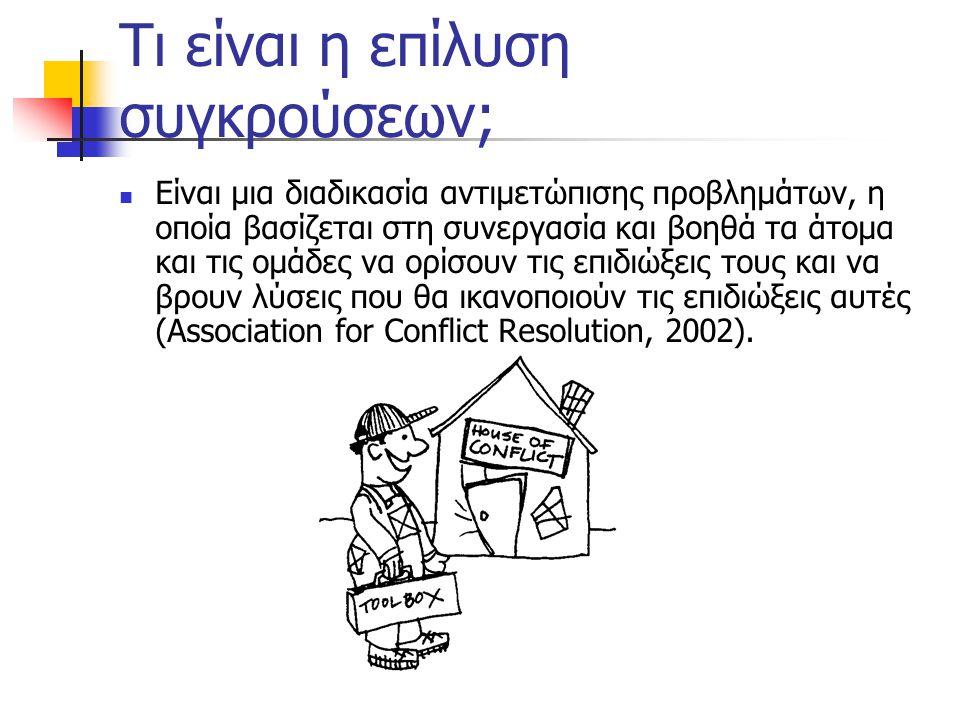 Τι είναι η επίλυση συγκρούσεων; Είναι μια διαδικασία αντιμετώπισης προβλημάτων, η οποία βασίζεται στη συνεργασία και βοηθά τα άτομα και τις ομάδες να