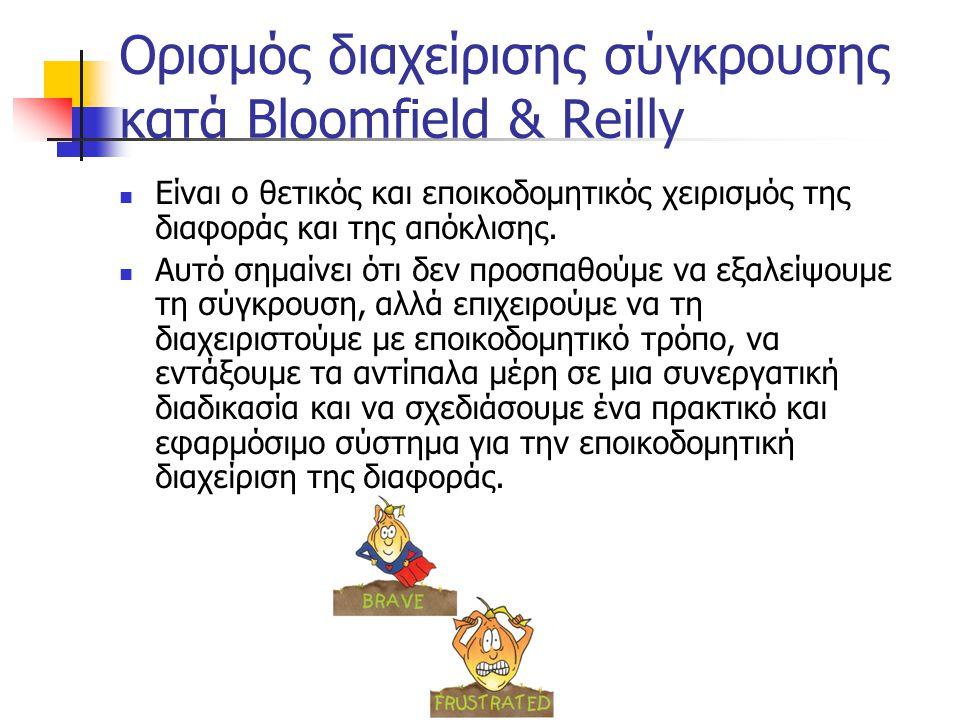 Ορισμός διαχείρισης σύγκρουσης κατά Bloomfield & Reilly Είναι ο θετικός και εποικοδομητικός χειρισμός της διαφοράς και της απόκλισης. Αυτό σημαίνει ότ