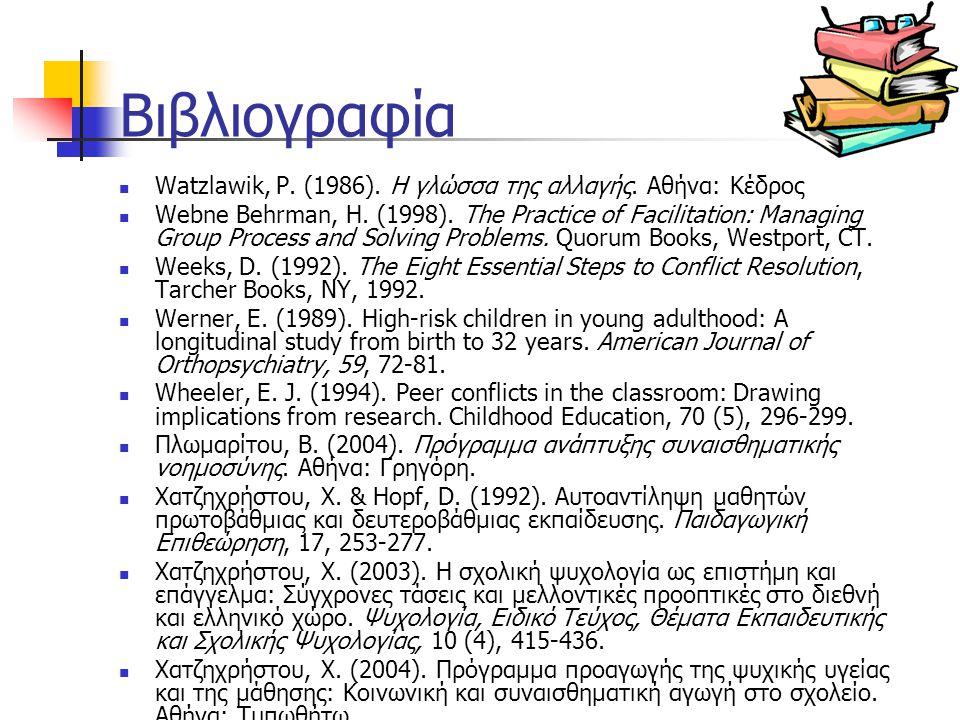Βιβλιογραφία Watzlawik, P. (1986). Η γλώσσα της αλλαγής. Αθήνα: Κέδρος Webne Behrman, H. (1998). The Practice of Facilitation: Managing Group Process