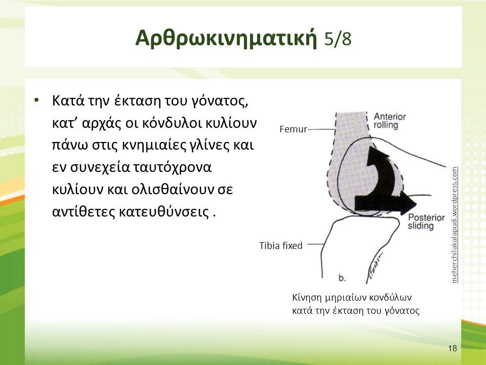 Αρθρωκινηματική 5/8 Κατά την έκταση του γόνατος, κατ' αρχάς οι κόνδυλοι κυλίουν πάνω στις κνημιαίες γλίνες και εν συνεχεία ταυτόχρονα κυλίουν και ολισ