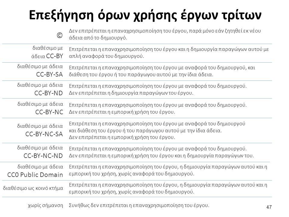 Επεξήγηση όρων χρήσης έργων τρίτων 47 Δεν επιτρέπεται η επαναχρησιμοποίηση του έργου, παρά μόνο εάν ζητηθεί εκ νέου άδεια από το δημιουργό. © διαθέσιμ