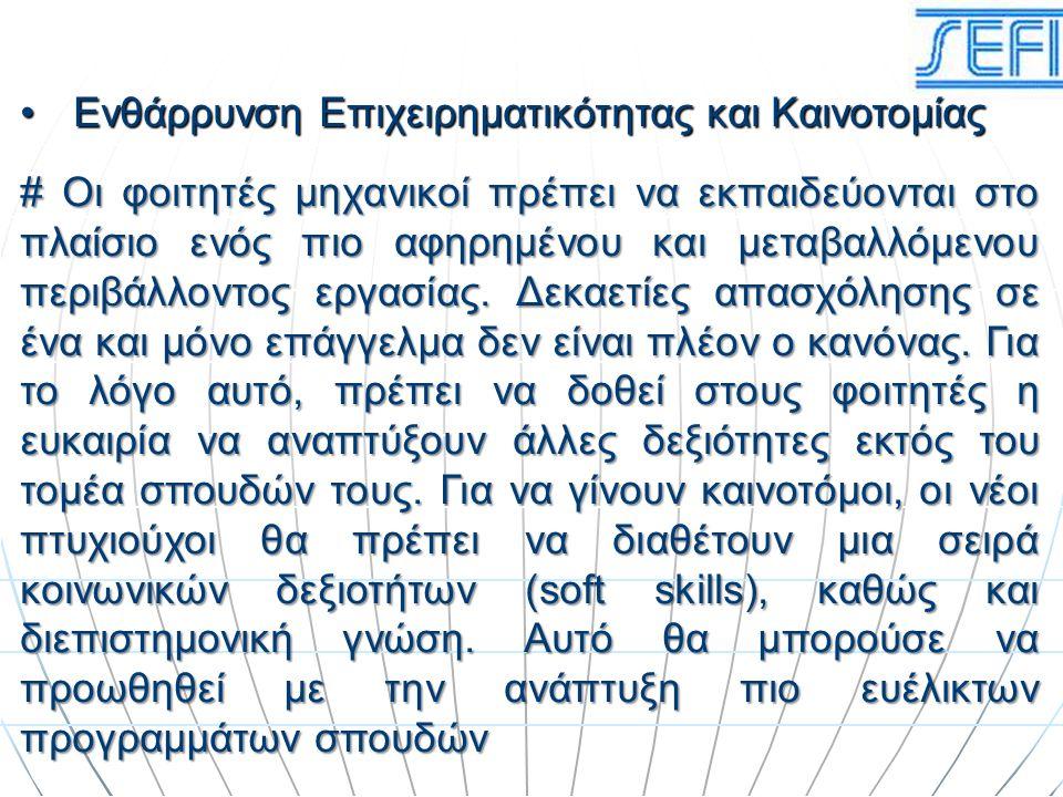 Ενθάρρυνση Επιχειρηματικότητας και ΚαινοτομίαςΕνθάρρυνση Επιχειρηματικότητας και Καινοτομίας # Οι φοιτητές μηχανικοί πρέπει να εκπαιδεύονται στο πλαίσ