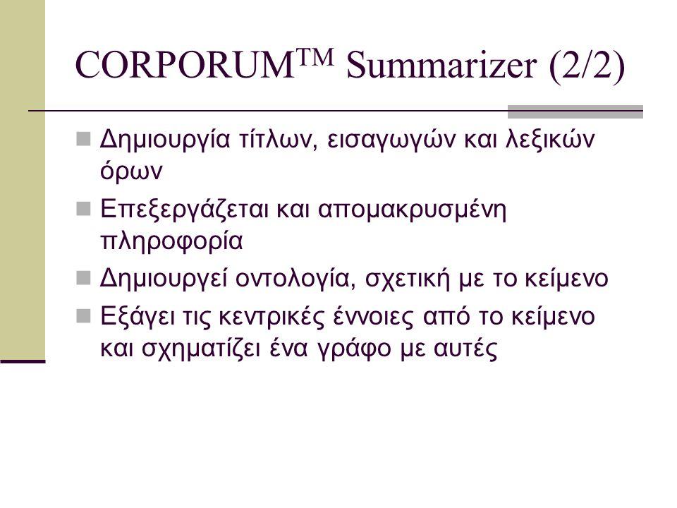 CORPORUM TM Summarizer: Παράδειγμα