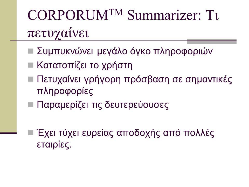 CORPORUM™ CORPORUM™ Summarizer CORPORUM™ Knowledge Server CORPORUM™ Business Intelligence Portal CORPORUM™ Knowledge Factory