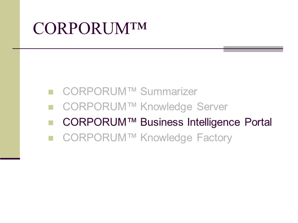 CORPORUM TM Business Intelligence Portal Web-based προϊόν δημιουργίας ηλεκτρονικής πύλης.