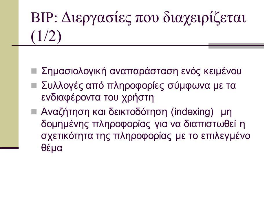 BIP: Διεργασίες που διαχειρίζεται (2/2) Ευέλικτη αναζήτηση στο Διαδίκτυο, για εύρεση πληροφοριών σχετικών με θέμα που έχει επιλέξει ο χρήστης Αναζήτηση νέων πληροφοριών Προσαρμοσμένη ανταπόκριση Αυτόματη δεικτοδότηση right down σε σημασιολογία, έννοια και λέξη
