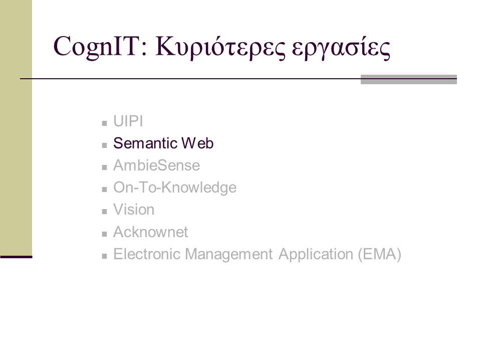 Semantic Web Συμμετοχή της CognIT s.a., ως μέλος της συνεργασίας «On-To-Knowledge» Βασική ιδέα: ορισμός των δεδομένων έτσι ώστε να είναι εφικτές… Αυτοματοποίηση Ολοκλήρωση Επαναχρησιμοποίηση Βασικός στόχος η ανάπτυξη και υποστήριξη προτύπων και τεχνολογιών για το Σημασιολογικό Ιστό