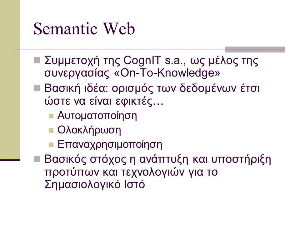 Semantic Web: Συνεργάτες Χρηματοδοτείται από τις ΗΠΑ Οργανώνεται από το Stanford