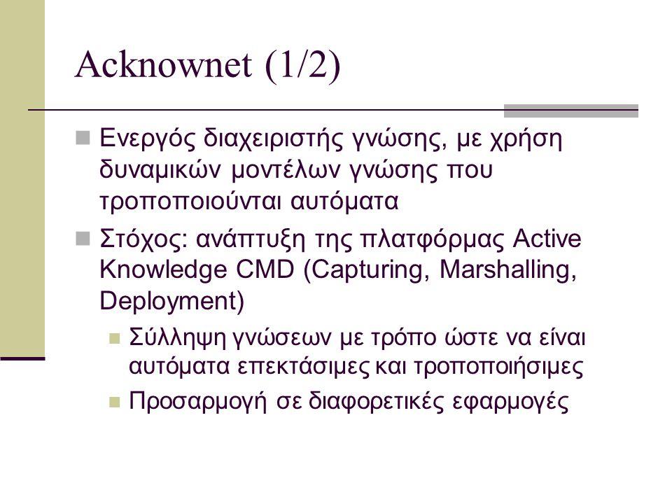 Acknownet (2/2) Η πλατφόρμα έχει σχεδιαστεί να διαχειρίζεται μορφές γνώσης όπως: αναλυτικές, που απεικονίζονται με δομές που διαχειρίζονται τιμές εμπειρικές, που αποκτώνται με διαδικασίες μάθησης από δεδομένα και γεγονότα (data and events) τοπολογικές, οργανωτικές και μετα-δομές και συσχετιζόμενες, που αφορούν σε αρχές και σχέσεις και εξάγονται από σημασιολογικά δίκτυα
