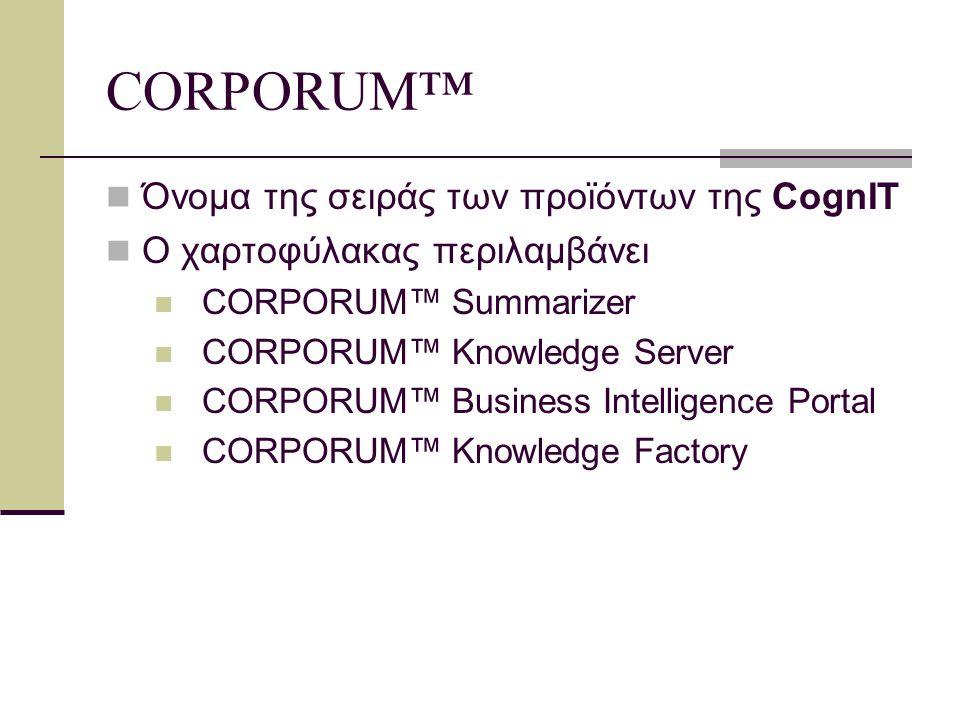 Λειτουργικότητα του CORPORUM™: Ανάκτηση πληροφοριών βάσει ενδιαφερόντων χρήστη Κατηγοριοποίηση πληροφοριών βάσει σχετικότητας Περίληψη βάσει ζητούμενων εννοιών Αυτόματη κατηγοριοποίηση Παρακολούθηση πληροφοριών (information monitoring) Αυτόματη εισαγωγή υπερσυνδέσμων Οπτικοποίηση πληροφορίας